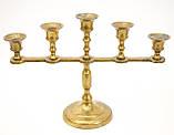 Винтажный латунный подсвечник на пять свечей, латунь,  Германия, 14,5 см, фото 9