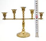 Винтажный латунный подсвечник на пять свечей, латунь,  Германия, 14,5 см, фото 10