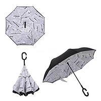 Зонт обратного сложения Up-Brella белая газета R187146