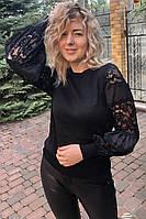 Нарядный джемпер с объмными гипюровыми рукавами LUREX - черный цвет, M (есть размеры), фото 1