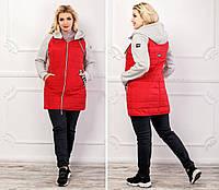 Стильная женская весенне-осенняя трикотажная куртка на силиконе с капюшоном. Арт-2713/16, фото 1