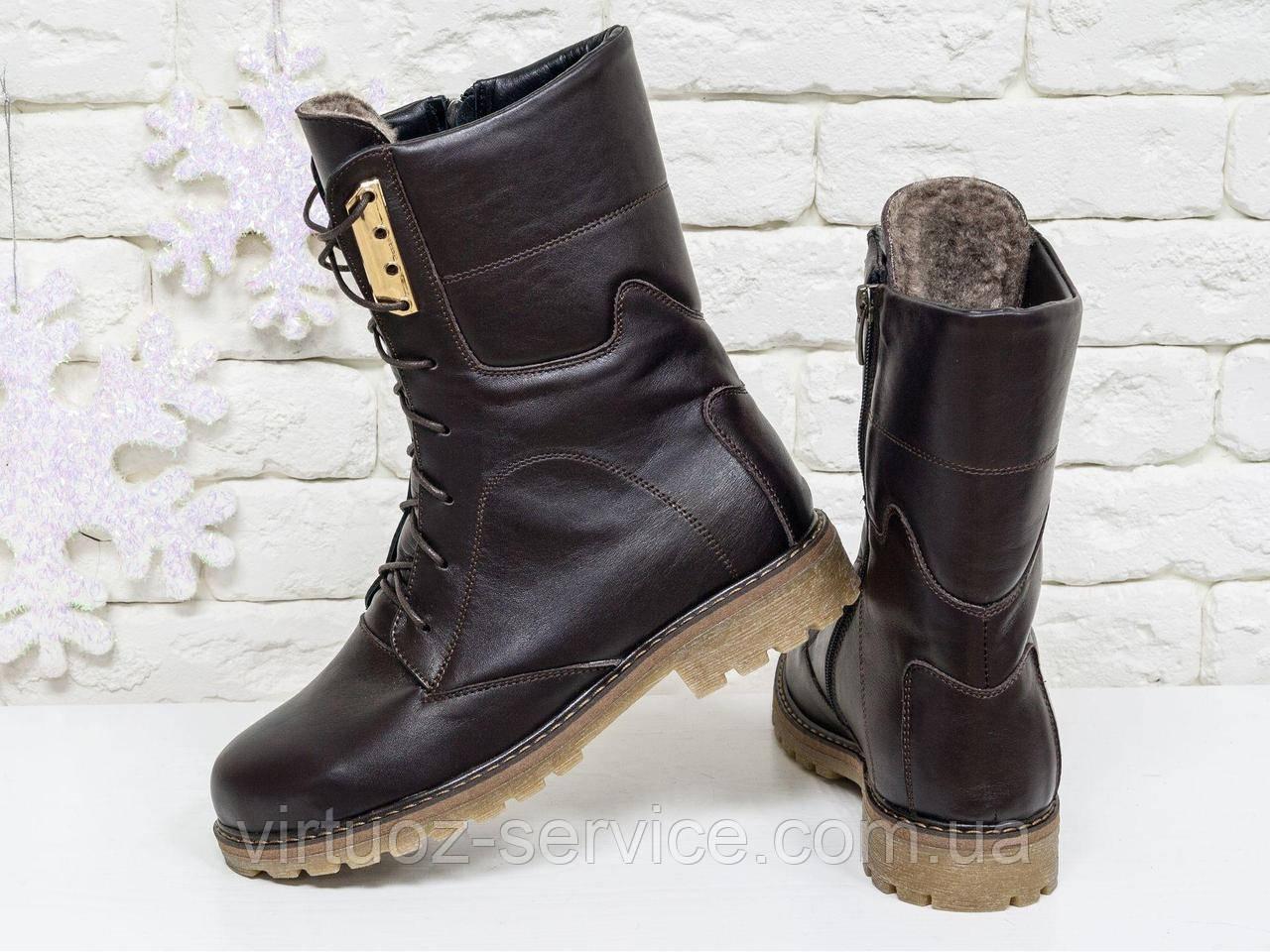 Ботинки женские Gino Figini Б-44-06 из натуральной кожи 39 Коричневый