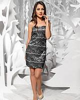 Нежное атласное вечернее платье с черным ажурным кружевом M черный