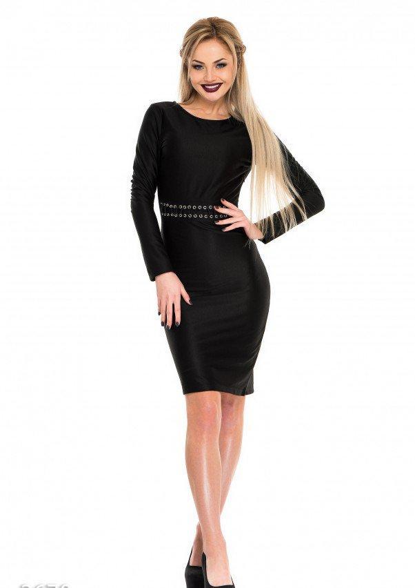Черное платье по фигуре с декоративной тонкой шнуровкой на талии M