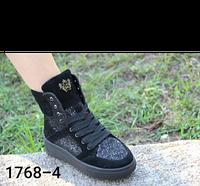 Женские ботинки с натуральной,комбинированной кожи,черного цвета,на шнурках.Демисезонные и зимние.