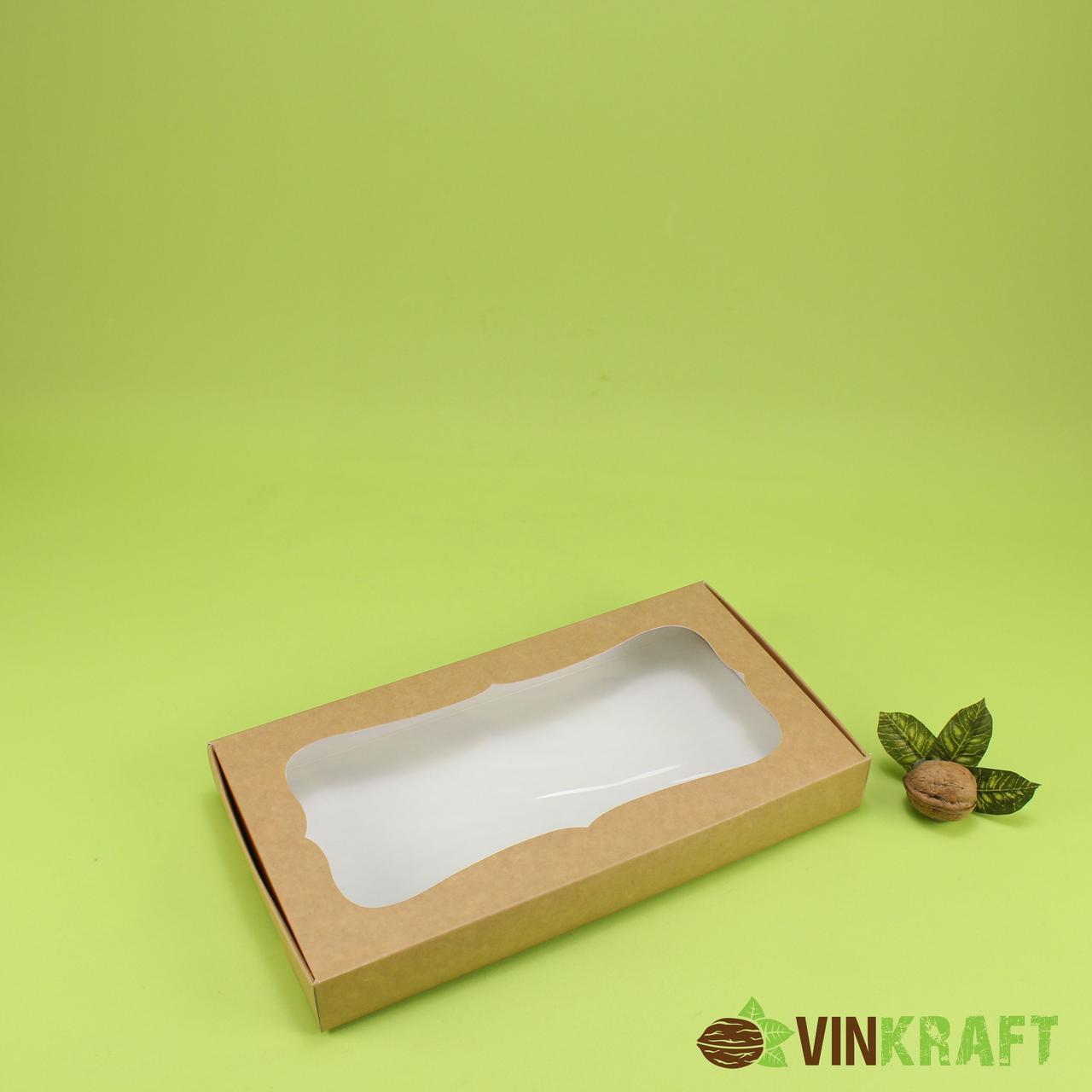 Коробка 280*150*35 для пряника з вікном, крафт