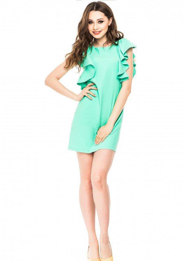 Мятное мини-платье с широкими рукавами-воланами
