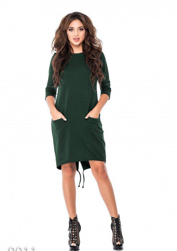Зеленое однотонное платье из двунити с карманами впереди XL