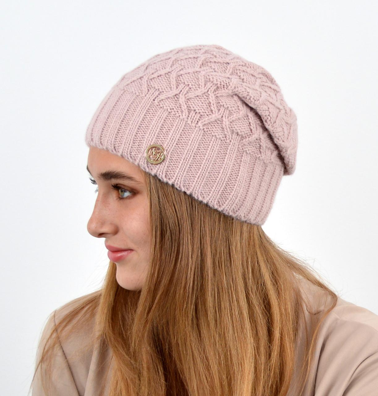 """Женская шапка """"Нэнси"""" пудра"""
