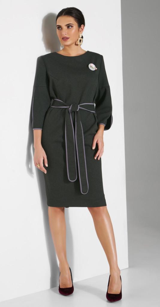 Платье Lissana-3804/1 белорусский трикотаж, хаки, 50