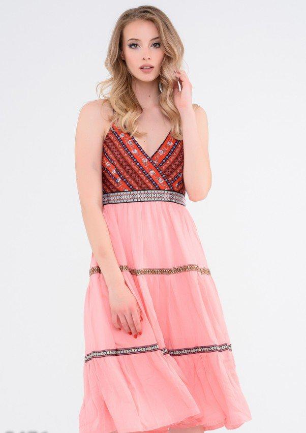 Розовое платье Бохо с коралловым лифом