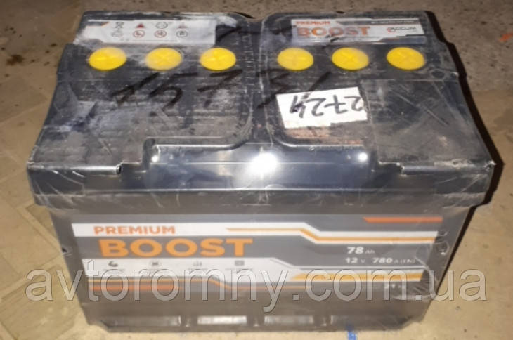 Аккумулятор 6СТ 78А3Г (1) плюс слева Boost Premium