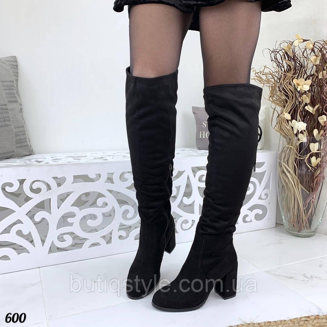 Зимние женские черные сапоги эко-замша на каблуке