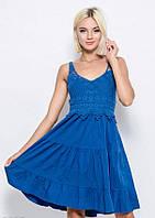 Летнее синее коттоновое платье с воланами, завязкой на спине и лифом-мулине