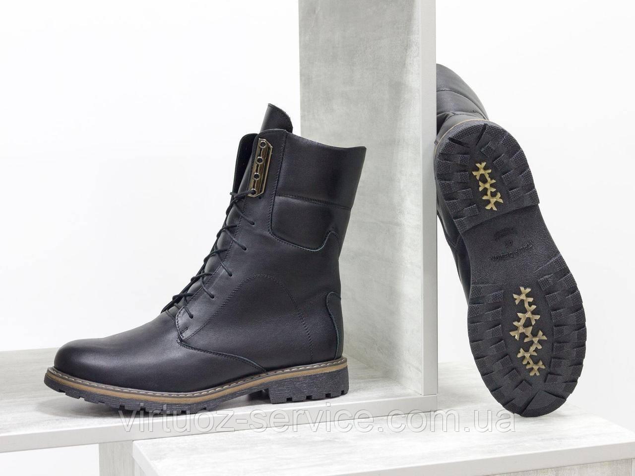 Ботинки женские Gino Figini Б-44-11 из натуральной кожи 39 Черный