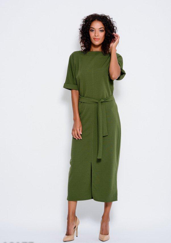 Платье цвета хаки с пояском и цельнокроенными рукавами