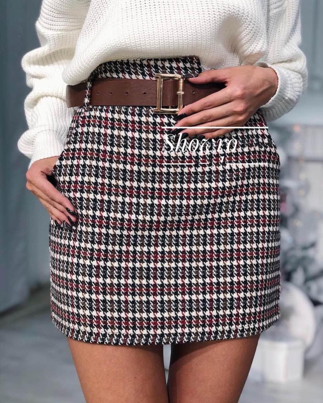 Женственная юбка теплая  твидовая Клетка. Фабричный Китай. Размер S.  M,L + пояс