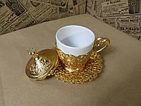 Кофейная чашка 110 мл. Металл+керамика. Турция., фото 1