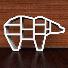 Мебель из натуральных материалов медведь. Полка 3D (белый)