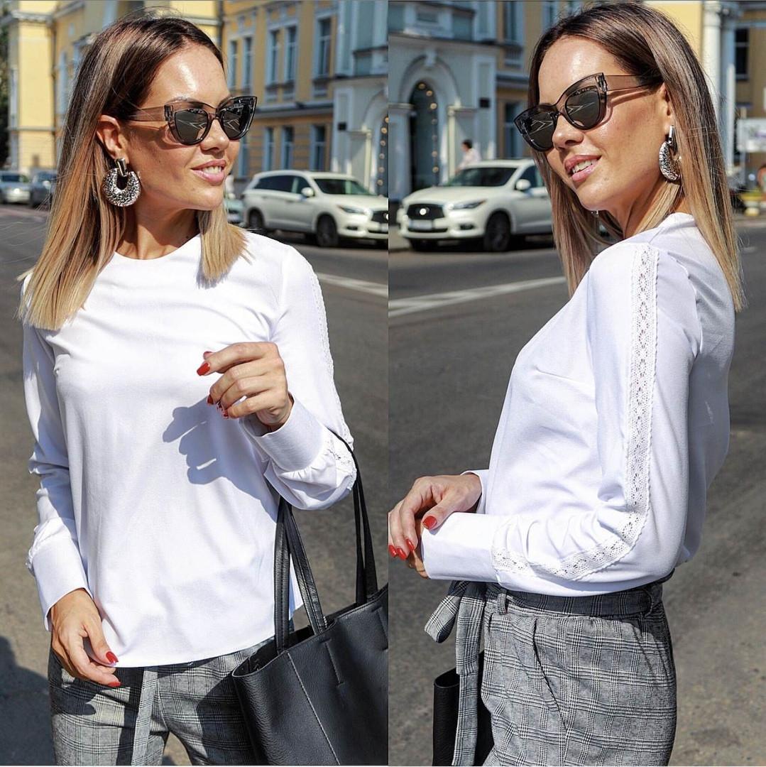 Женская блуза со вставками кружева  42, 44, 46