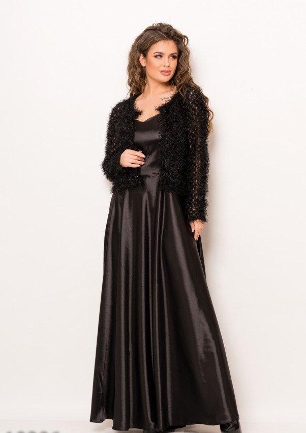 Черное вечернее атласное платье в пол на бретелях со съемным болеро S
