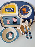 Набор детской бамбуковой посуды Свинка Пеппа, фото 1