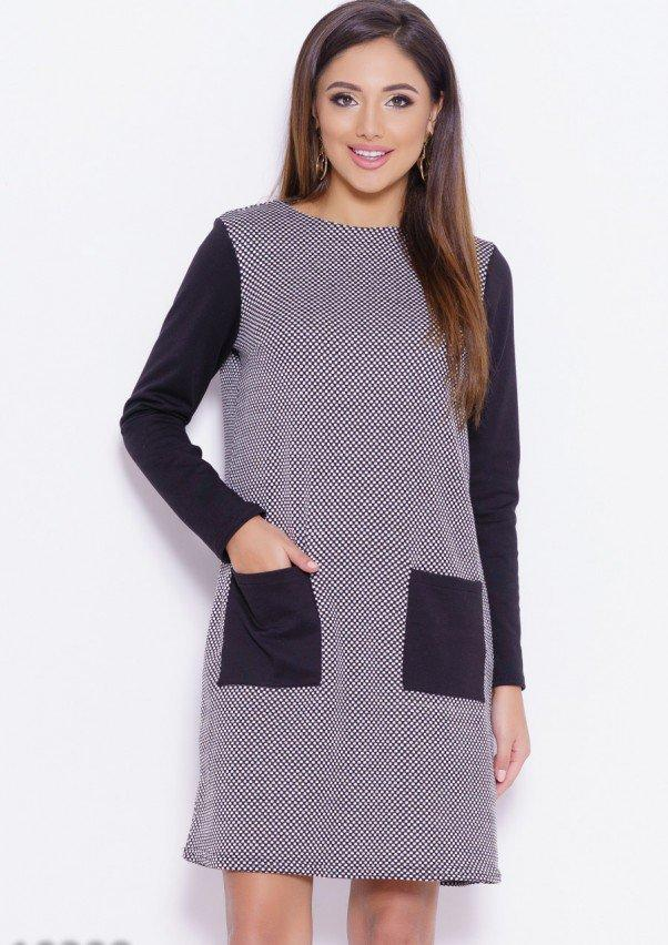 Черно-белое трикотажное клетчатое платье с карманами S