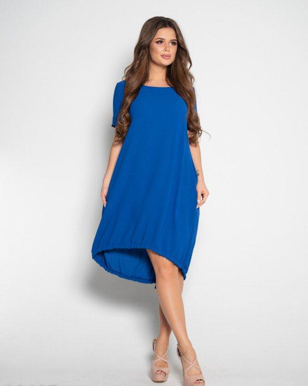 Синее свободное платье с короткими рукавами