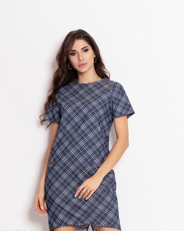 Сине-белое клетчатое джинсовое платье с карманами