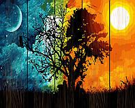 Картина по номерам на дереве Закат и рассвет Rainbow Art