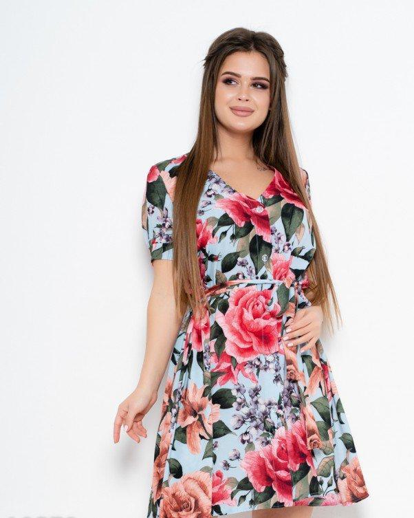 Тонкое платье с пуговицами на передней планке