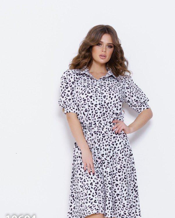 Черно-белое платье с леопардовым принтом S