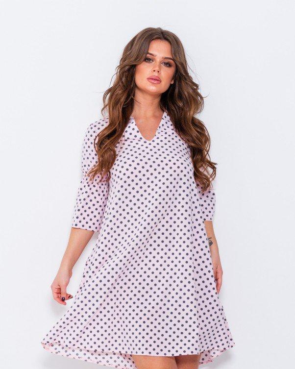 Розовое в горошек платье с воланами на рукавах