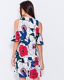 Цветочное мини платье с открытыми плечами S, фото 3