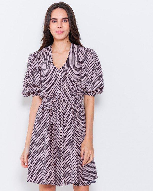 Свободное платье в горошек с рукавами-фонариками