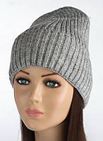 Утепленная вязаная шапочка Элина цвет средне-серый