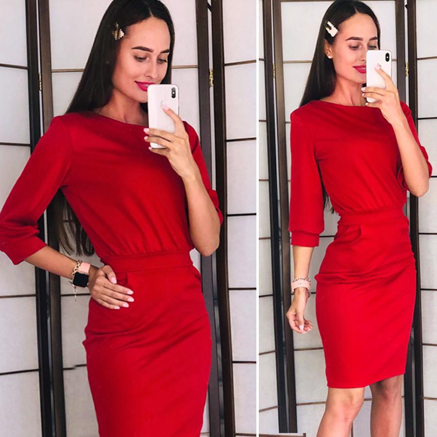Красное трикотажное платье (Код MF-187)