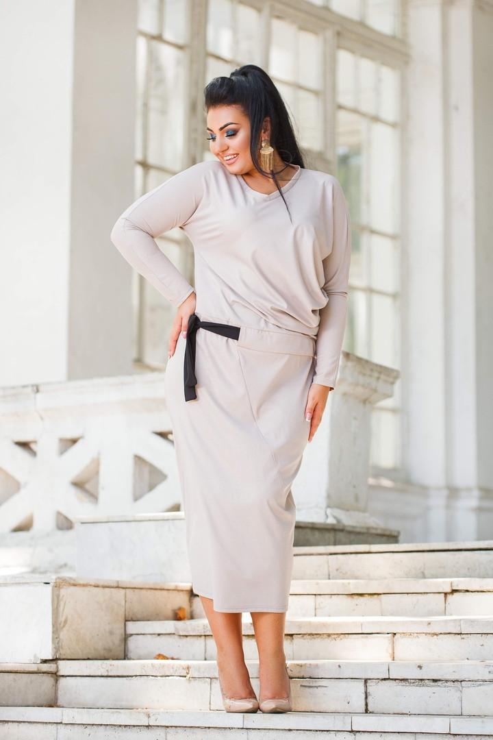 Женский трикотажный юбочный костюм юбка ниже колен под пояс  50-52, 54-56