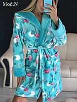 Красивый женский теплый халат с капюшоном c фламинго, фото 3