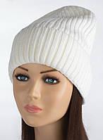 Вязаная теплая шапочка Элина цвет белый