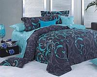 Постель Вензель. Размер Евро. Цвет синий. Комплект постельного белья. Ткань Бязь