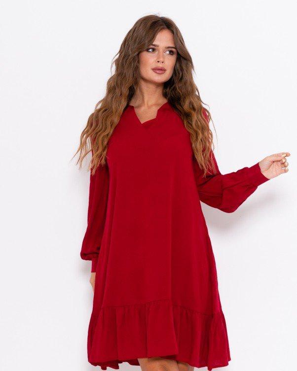 Красное крепдешиновое платье с воланом S