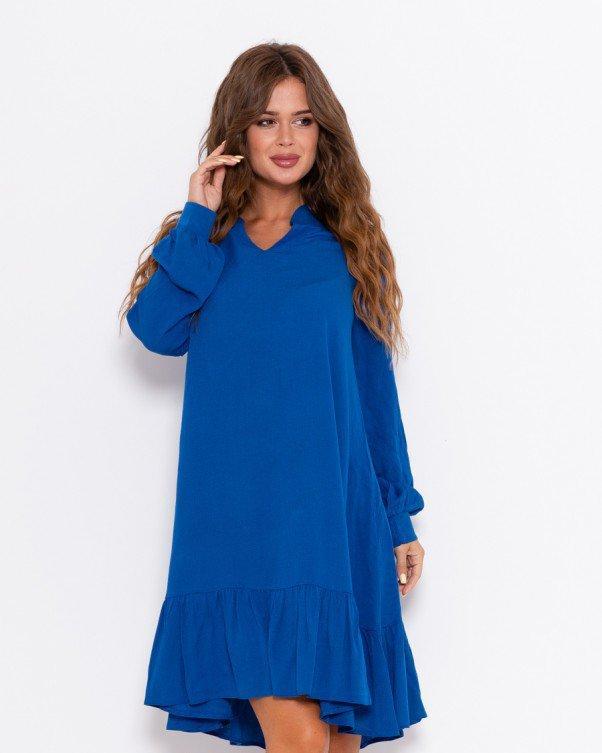 Синее крепдешиновое платье с воланом S
