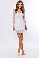 Женское белое платье с прозрачными рукавами KP-10237-3