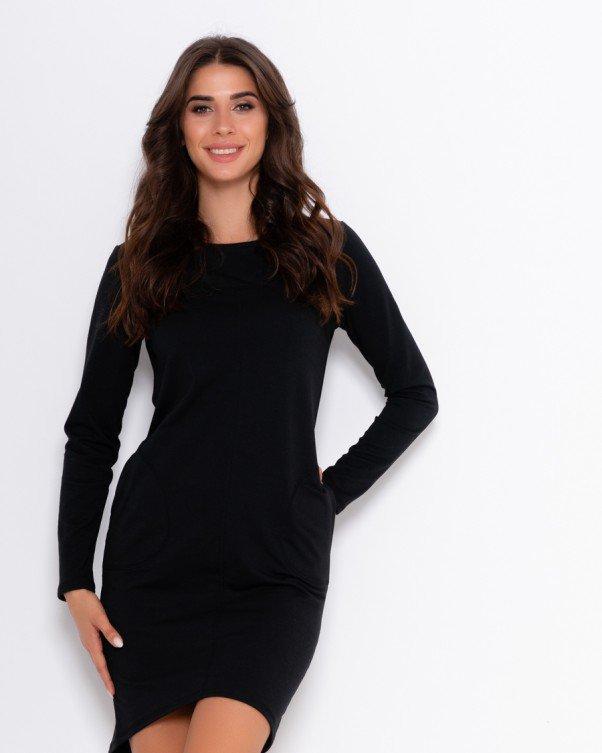 Черное трикотажное платье асимметричного кроя