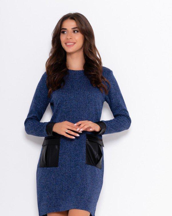 Синее платье с накладными карманами S