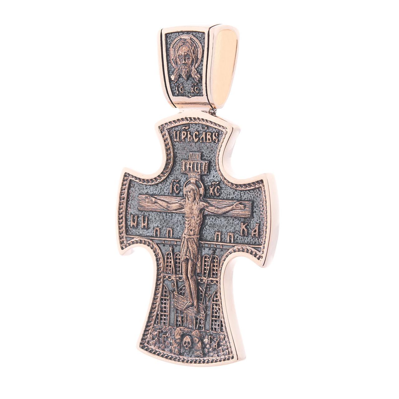 Золотой крест с чернением гп03264