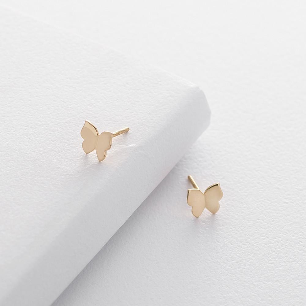Золотые серьги-пусеты с бабочками с06226
