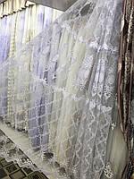 Тюль с красивой серединой в гостинную или спальню турецкого качества. . №1900  Цвет: Белый