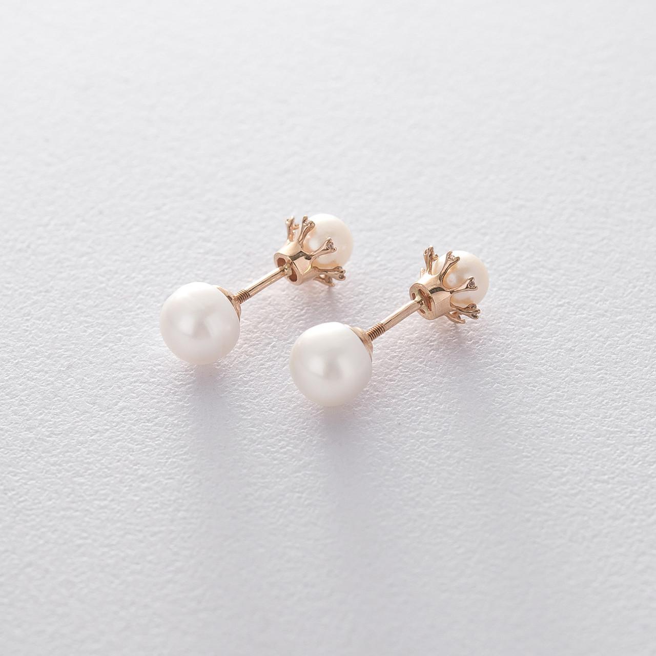 Золоті сережки-пусети (фіаніт, культ. пресн. перли) с04116